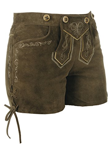 Spieth & Wensky - Kurze Damen Lederhose mit Stegträger, Basta (009498-0308) Ruß (2012)