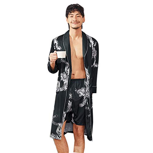 Herren-spa-roben (Herren Satin Robe Leichte Seide Spa Bademantel Shorts Nachthemd Langarm House Kimono Printed Bademantel Nachtwäsche Bademantel Bad Nachtwäsche,Blue,L)