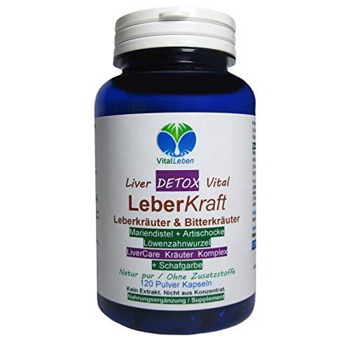 Leber Kraft Liver Care DETOX Vital Komplex Leberkräuter + SCHAFGARBE   120 Kapseln   Mit Mariendistel + Artischocke + Löwenzahn   NATUR pur   26545-1 -