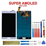 SWARK Super AMOLED Display Compatibile con Samsung Galaxy Note 4 SM-N910C, SM-N910F, (Bianco Senza Telaio) LCD Display Touchscreen Digitizer Assembly Glas + Tools