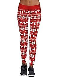 ZODOF Mujer Pantalones Tallas Grandes Elasticos Invierno OtoñO Estampado De Navidad para Mujer Aprieta Los Pantalones