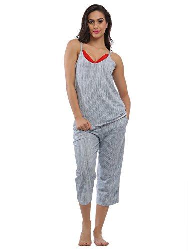 Clovia Women Blue Cotton Spandex Camisole & Capri Set With Contrast Lace