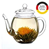 Creano Teekanne aus Glas mit Deckel für 500ml Tee aus Teeblumen, Teerosen und losem Tee sowie Teebeuteln | hochwertig, hitzebeständig