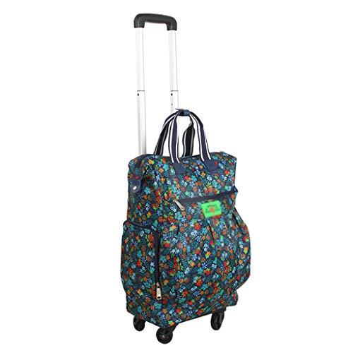 GTT Carrito de Compras Universal Wheel Trolley Bag Maleta de Transporte Trolley Case Bolso Plegable de Compras Remolcador Bearing 25 kg (Color : Blue, Size : 45 * 86cm)