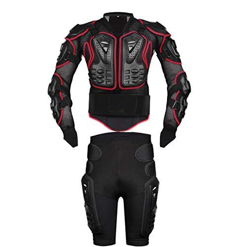Motorradjacken Moto Motocross Racing Motorrad Körperschutz Schutzjacke + Getriebe Shorts Hosen Red XXXL -