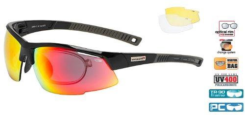 Radbrille Sportbrille mit Wechselgläsern und Optik-Clip Goggle E865