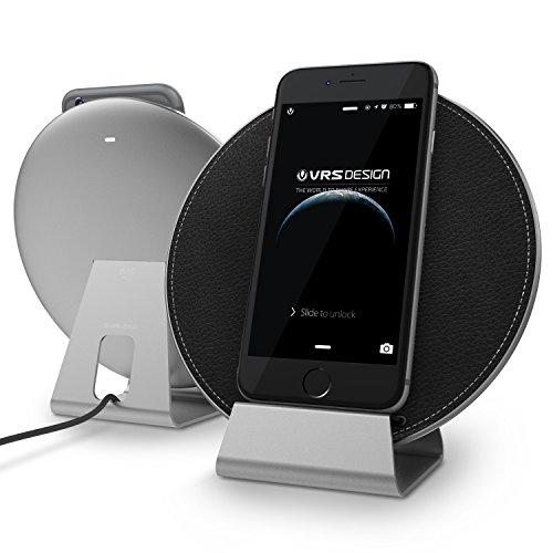 VRS Design Urcover Plate Halo Charger | Qi Ladestation Silber | Wireless Ladegerät geeignet für alle Qi fähigen Handys kompatibel mit Samsung Galaxy S6 Edge S7 S7 Edge LG G3, HTC 8X UVM. - Design Charger Plate