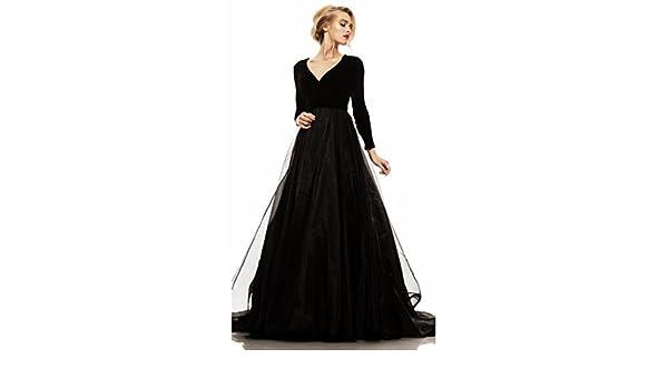 Passat Velvet Organza Long Sleeved Gown Prom Dresses JK11 - - Custom Made: Amazon.co.uk: Clothing