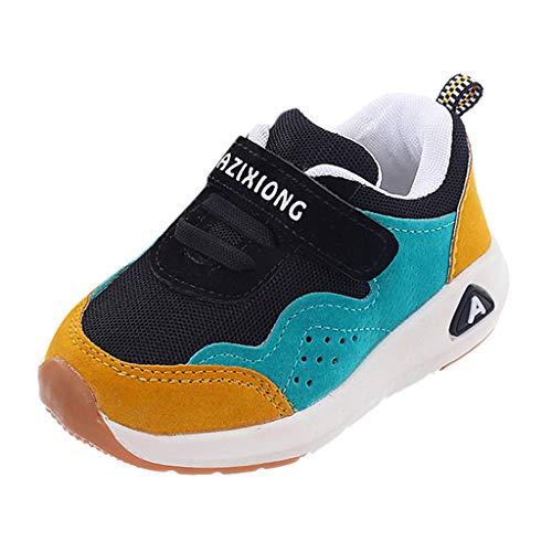 HDUFGJ Kinder Jungen Mädchen Sneaker Sportschuhe Mesh Atmungsaktiv Laufschuhe Outdoor Klettverschluss Wanderschuhe Sport Sneaker Turnschuhe Hallenschuhe Schuhe22.5 EU(Gelb)