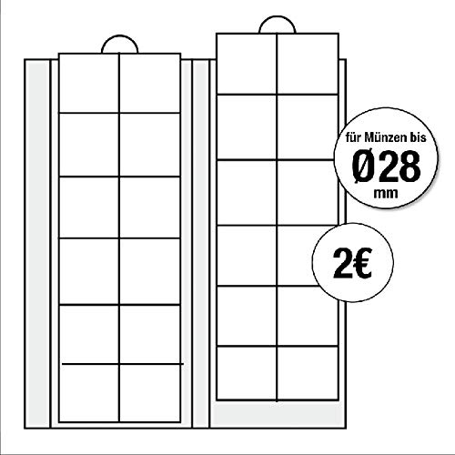 nzhüllen - Ergänzungsblätter Nr. 7393 Ideal für 2 EURO Münzen für Münzen bis 26 mm + schwarze Zwischenblätter ()