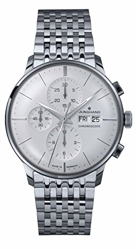 Junghans Armbanduhr Herren Meister Chronoscope-Stahl Armband silber Zifferblatt Tag Datum 027/4121.45