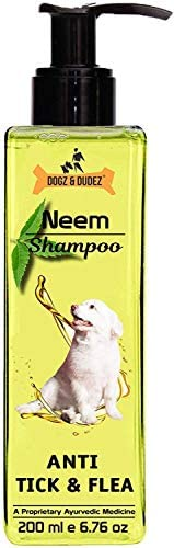 Dogz & Dudez Dogs and Cats Shampoo Anti Tick & Flea | Organic Natural Neem & Lemongrass ● Anti Itc