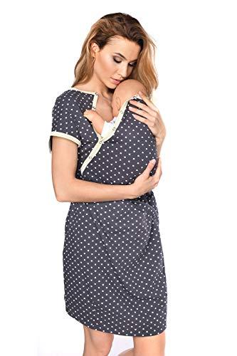 MijaCulture 3 in1 Geburtskleid Stillnachthemd Umstandsnachthemd Krankenhaus 4123 (S / EU36, Graphite/mit Herzen)