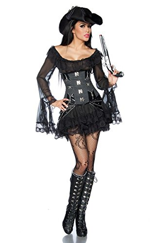 Sexy Pirate Steampunk Corset Costume Pirates Carnival Leather Look Fancy Dress, Color:Black;Size:XXL steampunk buy now online
