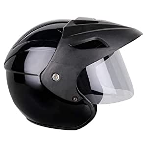 Mototrance Open Face Helmet Black (Size-L, 58-59 cm)