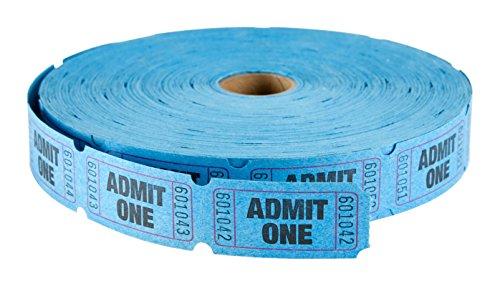 Maco Single Roll–Admit One–entradas, 1x 2pulgadas, Azul, 2000Por rollo (18–611)