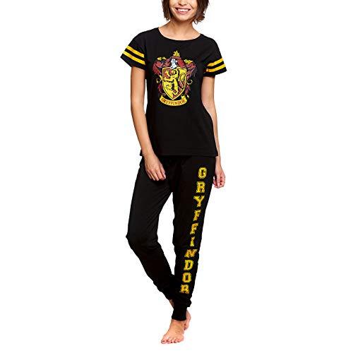 HARRY POTTER Damen Pyjama Gryffindor Wappen 2tlg Elbenwald Baumwolle schwarz - XL