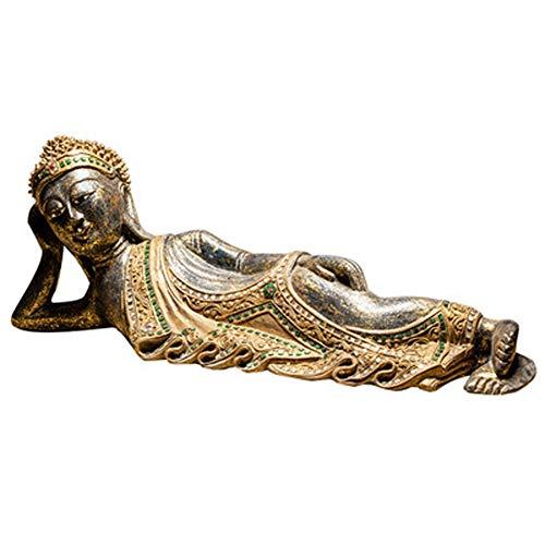 AINIYF Sereno de madera descansando Estatua de Buda durmiente Tallado a mano Sentado Escultura de Buda Estatuilla hecha a mano Decoración para el hogar Acento Artesanía Arte Decoración moderna tradici
