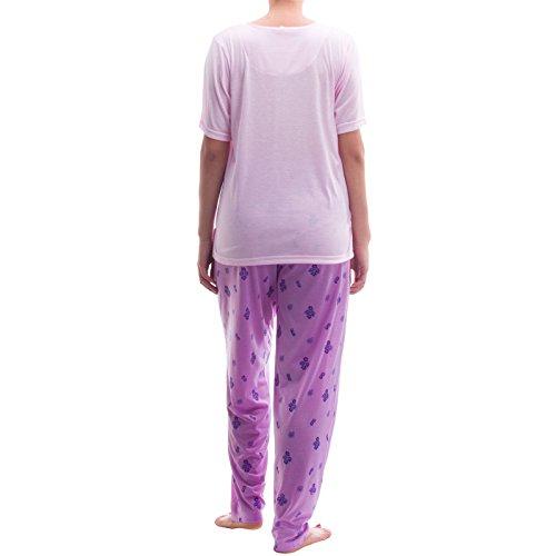 Lucky pyjama avec pantalon allover print t-shirt uni en 3 points avec boutons pression et pyjama Rose - Rose