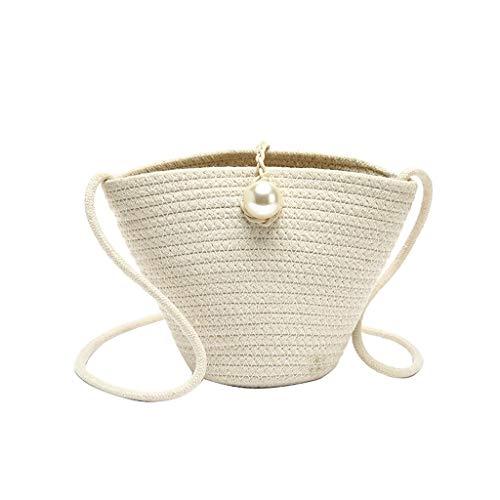 Damen Umhängetasche Shoulder Bag Handtasche Schultertasche Satchel Schulter handbag Rucksack,Retro Perle handgewebte Stroh Travel Bucket Bag Taschen -