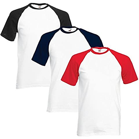Fruit Of The Loom Homme Valueweight Multi-Pack Of 3 Baseball T-Shirt Large Blanc / Noir, Blanc / Bleu marine, Blanc / Rouge