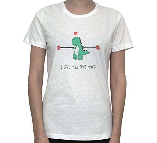 Dinosaur T-Rex I LOVE YOU THIS MUCH Funny Graphic Women's T-Shirt Blanc