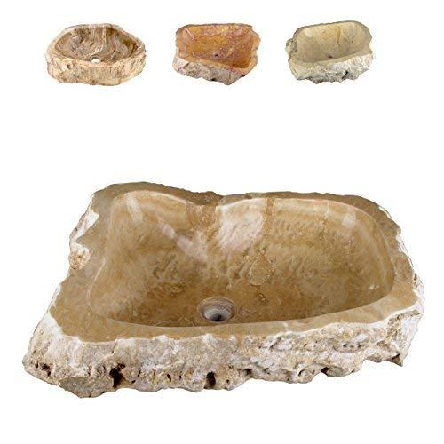 Akzent Fliesen Marmor (Divero Natur-Stein Waschschale Meran Aufsatz-Waschbecken Handwaschbecken Marmor creme/hellbraun Ø ca. 45 cm)