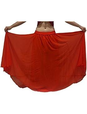 PURPLE se ajusta S upto XXL - 6 metros de la danza del vientre falda de traje ondulado bordes UK TAMAÑO 8 / 10...
