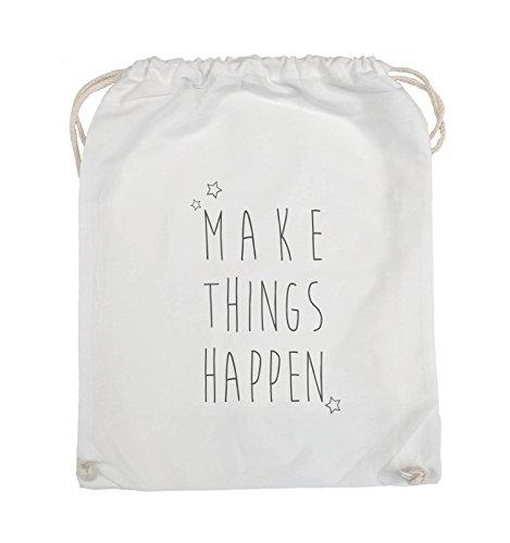 Comedy Bags - MAKE THINGS HAPPEN - Turnbeutel - 37x46cm - Farbe: Schwarz / Silber Weiss / Grau