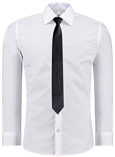 J'S FASHION Herren-Hemd – Slim-Fit – Bügelleicht – Anzug, Business, Hochzeit, Freizeit – Langarm für Männer Weiß - S (Weiss Anzug Herren)