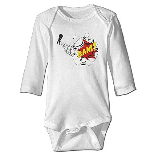 Ejjheadband Bowling Funny Long Sleeves Baby Bodysuit Onesies 12M -