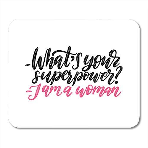 Alfombrillas para Ratón Negro ¿Cuál es su superpotencia? Soy Mujer Letras de mano Caligráficas del Movimiento Feminista en Blanco Alfombrilla de Ratón Rosada para Cuadernos, Computadoras de Escritorio
