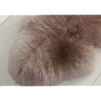 IMQOQ Genuine Sheepskin Long Wool Area Rug Pad Small Carpet Mat Room Bean Paste