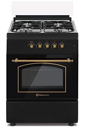 Cocina SolThermic F6S40G2I de Color Negro Rústico compuesta por 4 Quemadores y...