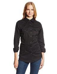 Wrangler Womens Western Yoke Two Snap Flap Pocket Shirt, Black, X-Large