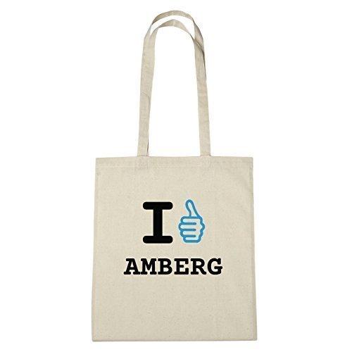 JOllify Amberg Borsa di cotone B1155 schwarz: New York, London, Paris, Tokyo natur: I like - Ich mag