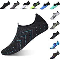 L-RUN Womens Mens Water Aqua Shoes Breathable Black XL(W:10.5-11,M:8-9)=EU41-42