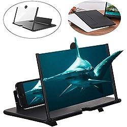 Peedeu Loupe D'écran de Téléphone,3D Screen Magnifier de 12 Pouces avec Support de Pliable Portable,Angle et Distance Réglables, Amplificateur de Film pour Tous Les Smartphones