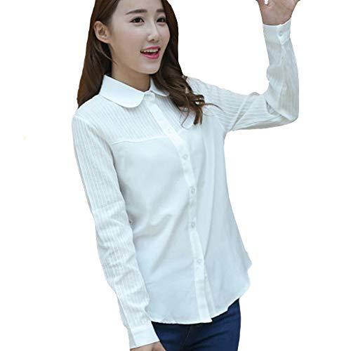 Haughtily Fashion Damen Stripe Business Bluse Umlegekragen Langarm Knöpfe Curved Hem T-Shirt Casual Tunika -