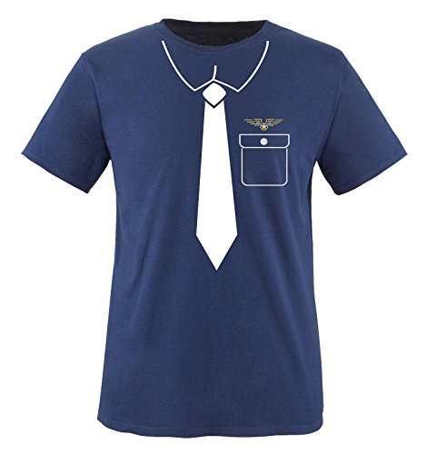 Comedy Shirts - Pilot KOSTÜM - Herren T-Shirt - Navy/Weiss-Gold Gr. ()