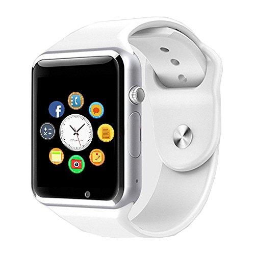 Reloj Inteligente, CulturesIn Pulsera con Pantalla Táctil Bluetooth con Cámara/Ranura para Tarjeta SIM/Análisis de Podómetro para Android (Funciones Completas) y para IOS (Funciones Parciales)(white)