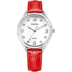 Comtex Watches for Women Red Leather Strap with Silver Roud Dial Quartz Analogue Display