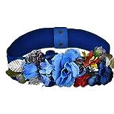 Amosfun Correa elástica de la Correa Ancha de la Flor del Vestido de Las Correas para los favores del Traje del Partido de Las señoras de Las Muchachas (Azul) los 60-80cm