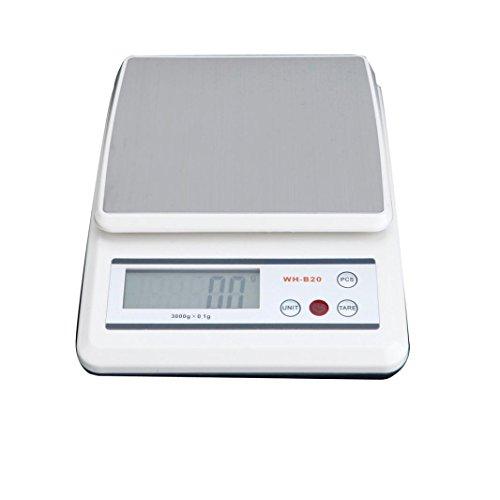 Hunpta@ 10KG Küchenwaage Digitalwaage Professionelle Waage Electronische Waage, Adoric Küchenwaage mit LCD Display-Wunderbare Präzision auf bis zu 1g (Weiß)