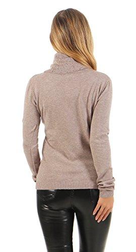 5283 Fashion4Young Damen Feinstrick Pullover grosser Rollkragen Strickpullover Langarm Pulli Cinder