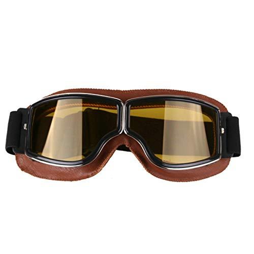 Aeici Sportbrille PC Sportbrille Verspiegelt Herren Motorradbrille Sehstärke Brauner Rahmen Gelb Linse