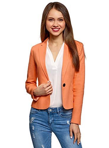 oodji Ultra Damen Taillierter Leinen-Blazer, Orange, DE 34 / EU 36 / XS (Blazer Orange Und)