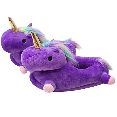 Luckly cloud-uk pantofole unicorno unisex adulti calde pantofole di peluche a ciabatte regalo di compleanno halloween cosplay taglia europea 36-41 (taglia unica 36-41, viola4 caviglia alta)