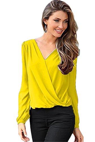 Femmes Sexy col V à manches longues en dentelle irrégulière Crochet Chiffon Shirt Top Blouse Jaune