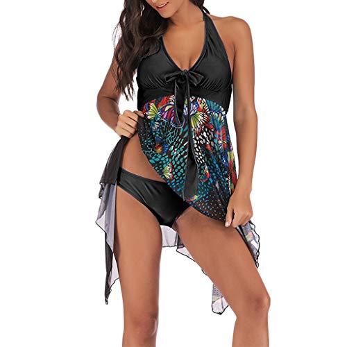 i Blumendruck-Badebekleidung Zweiteiliger Druck, der übergrößen bademode es Kleider asymmetrische Badekleid blau, himmelblau, grün, lila, schwarz, rot badet ()